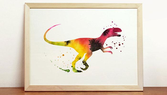 Allosaurus Water Color Print